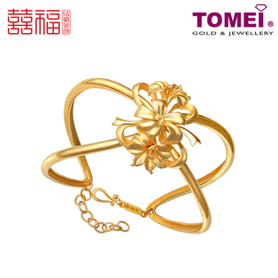 [ONLINE EXCLUSIVE PRE ORDER] Tomei x Xifu Yellow Gold 999 (24K) Blossoming Lilies Bangle 百合盛欢•L 手镯 (XF-BHSH-L-L)