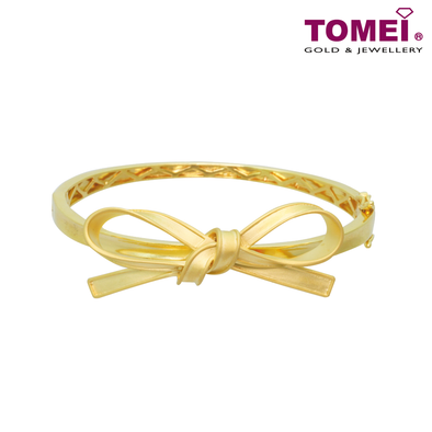 Tomei Yellow Gold 916 (22K) Ribbon Bliss Bangle (WS-YG1177B-1C)