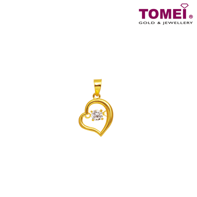 "[Online Exclusive] Tomei 916 (22K) Yellow Gold ""My Heart Beats for You"" Cubic Zirconia Heartbeat Pendant + Complimentary Rope Necklace (9P-DDP3-1C)"