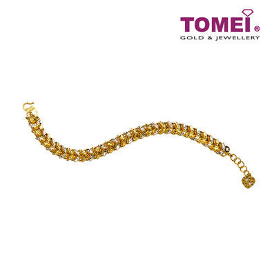 [Online Exclusive][Last Piece]Dual-Tone Tapestry of Elegance Bracelet | Tomei Yellow Gold 916 (22K) (9M-BA05-002-01-2C)