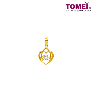 "Tomei 916 (22K) Yellow Gold ""You Complete Me"" Cubic Zirconia Heartbeat Pendant with Complimentary Rope Necklace (9P-DDP1-1C)"
