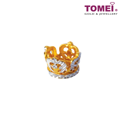 Charm of Fulgent Feathery Crown | Tomei Yellow Gold 916 (22K) (TM-YG0290P-2C) Navy Blue
