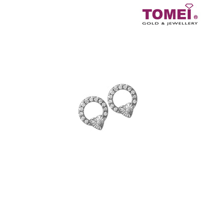 Earrings of Spellbindingly Striking Diamantes in Circular Motion | Snowy Snowball Collection | Tomei White Gold 585 (14K) (E2141)