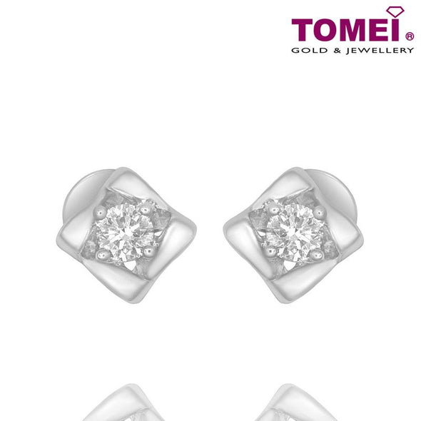 "Tomei White Gold 375 (9K) ""Lucky in My Life"" Diamond Earrings (E1437)"