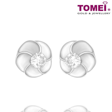"Tomei White Gold 375 (9K) ""Swirl Flower"" Diamond Earrings (E1155)"