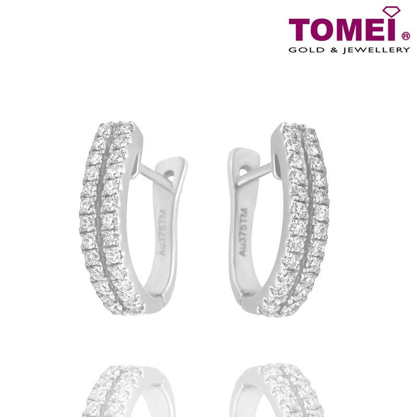"Tomei White Gold 375 (9K) ""Double"" Diamond Earrings (E839)"