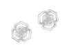 "Tomei White Gold 375 (9K) ""Petals of Love"" Diamond Earrings (E1669)"