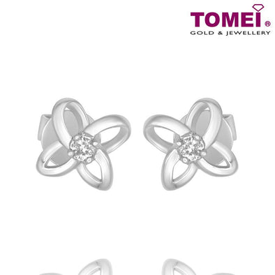 "Tomei White Gold 375 (9K) ""Four Petal Flower"" Diamond Earrings (E1016)"
