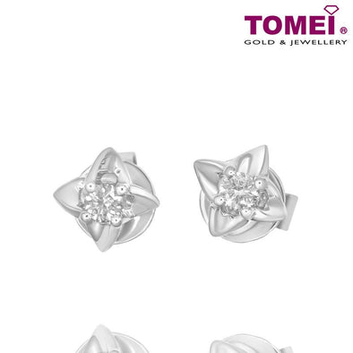 "Tomei White Gold 375 (9K) ""Lucky in Love"" Diamond Earrings (E1438)"
