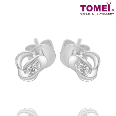 Tomei White Gold 375 (9K) Diamond Earrings (E1487)