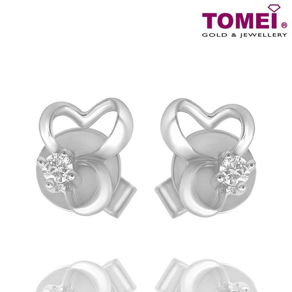 Tomei White Gold 375 (9K) Diamond Earrings (E1018)