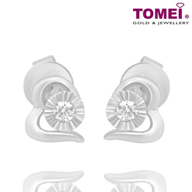 "Tomei White Gold 375 (9K) ""Scintillating Heart"" Diamond Earrings (E2008)"