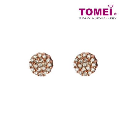 Earrings of Rosé in Pulchritude Pink  | Tomei White Gold 375 (9K) (E968)