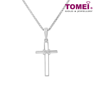 "Tomei White Gold 375 (9K) ""Infinity Wrap Cross"" Diamond Pendant with Chain (P2790)"