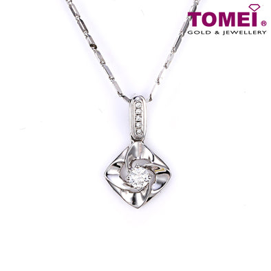 "Tomei White Gold 375 (9K) ""Alluring Beauty""  Diamond Pendant with Chain (P4601)"