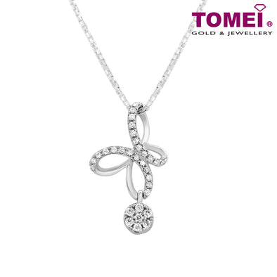 "Tomei White Gold 375 (9K) ""Infinity Love Butterfly"" Diamond Pendant with Chain (P4542)"