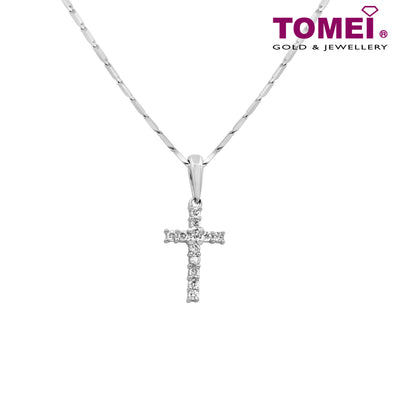 "Tomei White Gold 375 (9K) ""Light of Faith"" Diamond Pendant with Chain (P2713)"