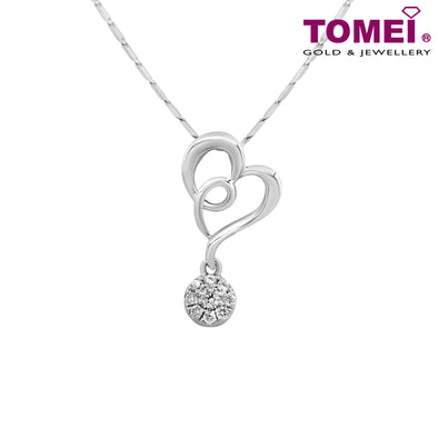 "Tomei White Gold 375 (9K) ""Twisted Heart"" Diamond Pendant with Chain (P5479)"
