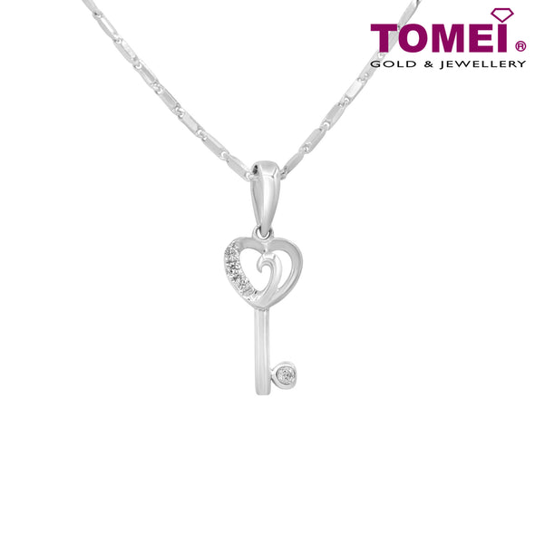 "Tomei White Gold 375 (9K) ""Unlock My Heart"" Diamond Pendant with Chain (P3483)"