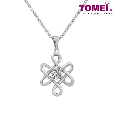 Everlasting Love Diamond Pendant | Tomei White Gold 375 (9K) with Chain (P4997)