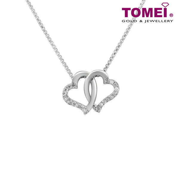 "Tomei White Gold 375 (9K) ""Entwined Hearts"" Diamond Pendant with Chain (P4004)"
