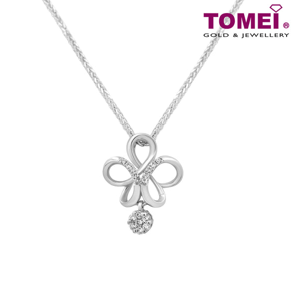"Tomei White Gold 375 (9K) ""Infinity Flower with Diamond Charm"" Diamond Pendant with Chain (P2119V)"