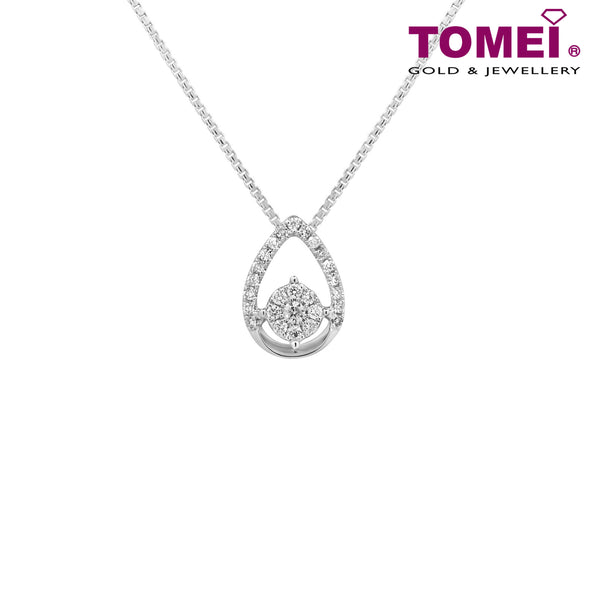 "Tomei White Gold 375 (9K) ""Teardrop"" Diamond Pendant with Chain (P5208)"