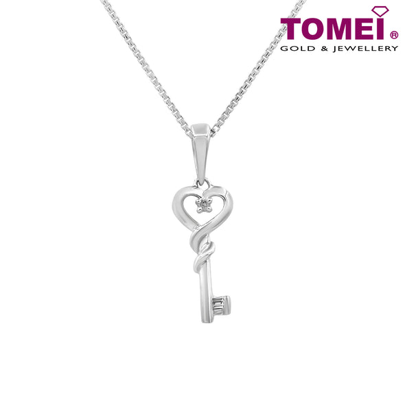 "Tomei White Gold 375 (9K) ""Key to My Heart"" Diamond Pendant with Chain (P3511)"