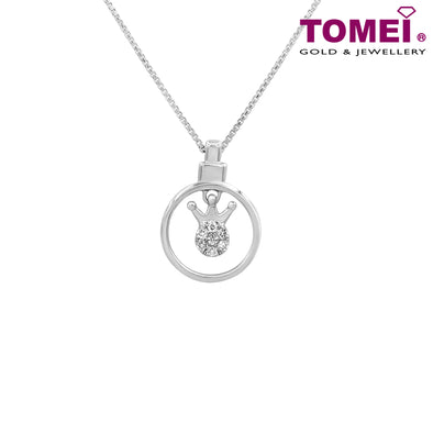 "Tomei White Gold 375 (9K) ""Always My Princess"" Diamond Pendant with Chain (P5824)"