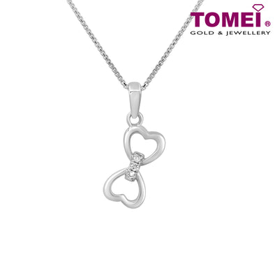 "Tomei White Gold 375 (9K) ""Union of Love"" Diamond Pendant with Chain (P5976)"