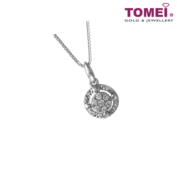 Pendant of Clover and Hearts with Radiating Refulgence | Winter Grace Collection | Tomei White Gold 585 (14K) (P6125)