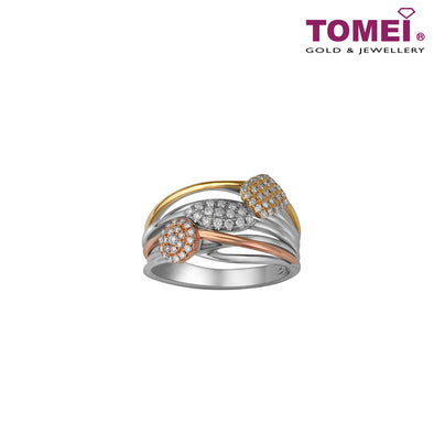 Tri-Tone Trifoliate in Treble Splendour Ring | Love Above All Collection | Tomei White Gold Rose Gold & Yellow Gold 750 (18K) (R4745)