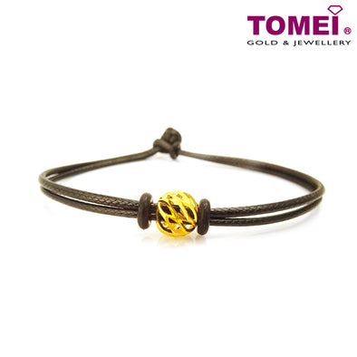 Glittery & Swirly Ball Pendant | Tomei Yellow Gold 916 (22K) with Complimentary Bracelet (9P-CTDQ-7MM-1C)