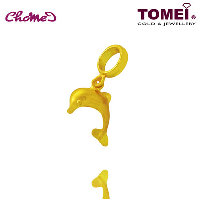 [Online Exclusive] Dolphin Chomel Pendant | Ocean of Wondrous Collection | Tomei Yellow Gold 916 (22K) with Complimentary Bracelet (TM-PT034-1C)