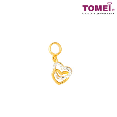 Dual-Tone Entwined Hearts Pendant | Tomei Yellow Gold 916 (22K) (TM-PT122-2C)