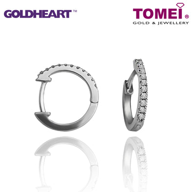"Tomei x Goldheart 9K White Gold + Palladium ""Espoir"" Diamond Earrings (E1308)"