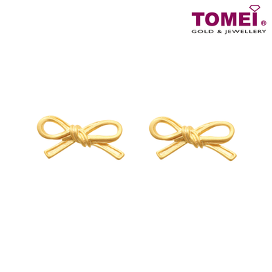 Tomei Yellow Gold 916 (22K) Ribbon Bliss Earrings (WS-YG1134E-1C)