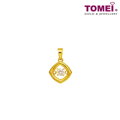 "[Online Exclusive] Tomei 916 (22K) Yellow Gold ""Love at First Sight"" Cubic Zirconia Heartbeat Pendant with Complimentary Rope Necklace (9P-DDP5-1C)"