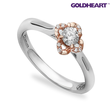 Tomei White Gold & Rose Gold 750 (18K) Diamond Ring (ROS-R4600)