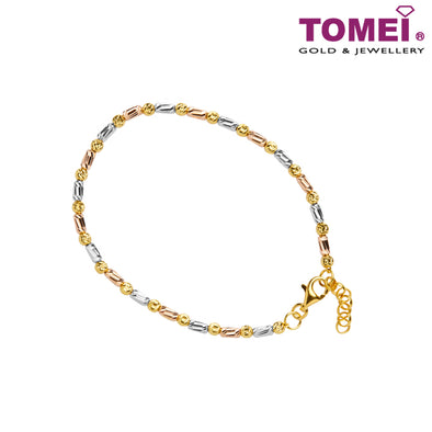 Dual-Tone Box Bracelet | Tomei 916 (22K) Yellow Gold (BB1034-C-3C)