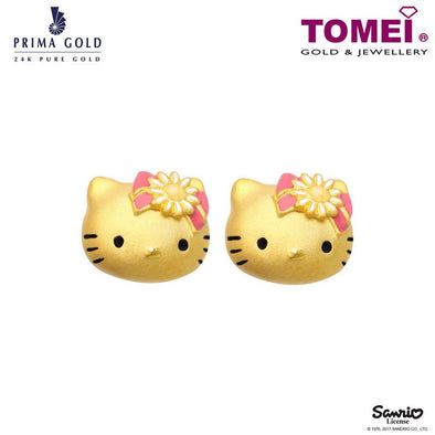 "Tomei x Prima Gold Hello Kitty Yellow Gold 999 (24K) ""Gingham Flower Collection"" Earrings (HK-111E3525)"