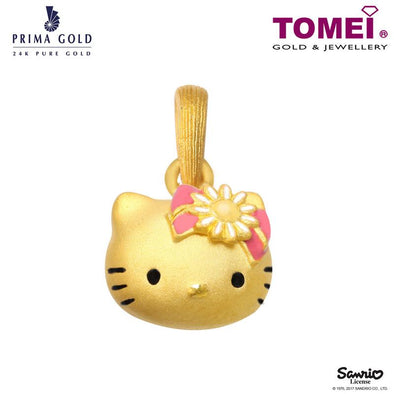"Tomei x Prima Gold Hello Kitty Yellow Gold 999 (24K) ""Gingham Flower Collection"" Pendant (HK-111P1688)"