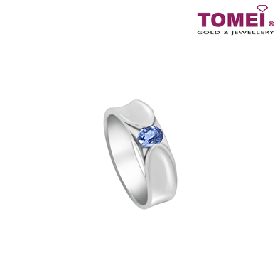 Ring with Sapphire Sophistication | Tomei Silver (925) + Palladium (HOM-R2536)