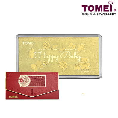 "Tomei Yellow Gold 9999 (24K) ""Happy Baby"" Wafer 1 Gram (HB-HBJB)"