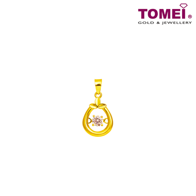 "[Online Exclusive] Tomei 916 (22K) Yellow Gold ""Heartful Promise"" Cubic Zirconia Heartbeat Pendant with Complimentary Rope Necklace (9P-DDP6-1C)"