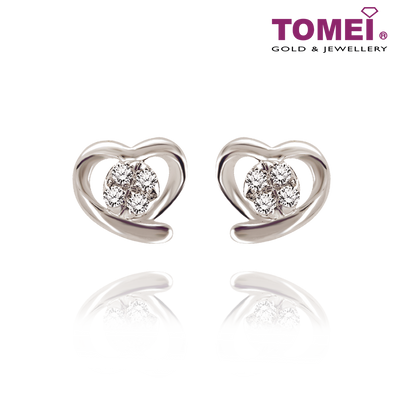 "Tomei White Gold 375 (9K) ""Hold My Heart"" Earrings (E1753)"