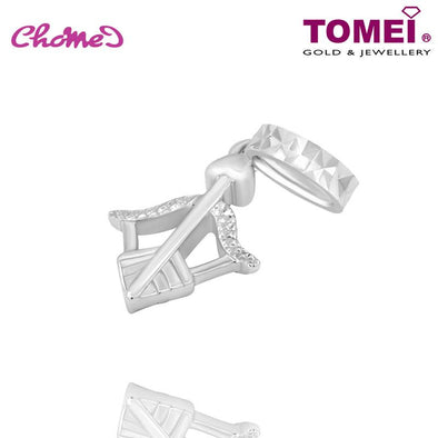 "Tomei White Gold 585 (14K) ""Bow & Arrow Heart"" Chomel Charm (P5539)"