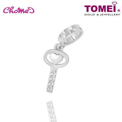 "Tomei White Gold 585 (14K) ""Key to My Heart"" Chomel Charm (P5442)"