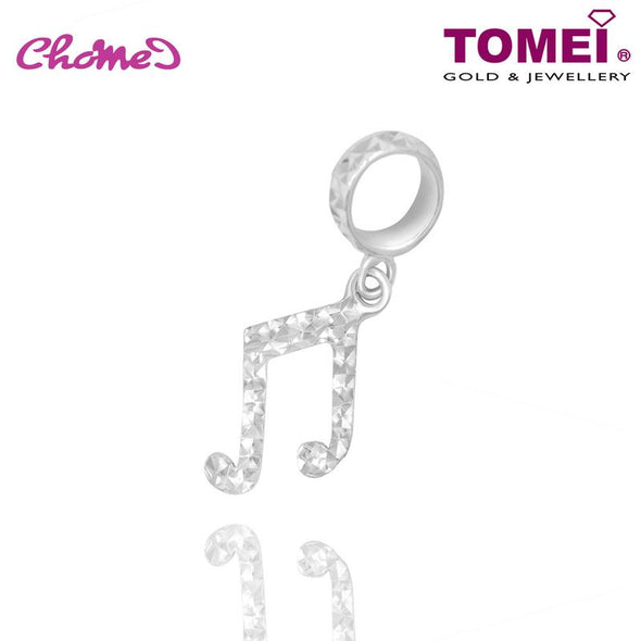 "Tomei White Gold 585 (14K) ""Beamed Eighth Note"" Chomel Charm (P31)"