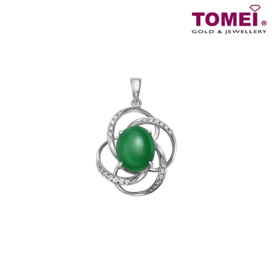 "Tomei White Gold 750 (18K) ""Jades of Harmony"" Twisted Flower Jade Pendant (JP0366)"